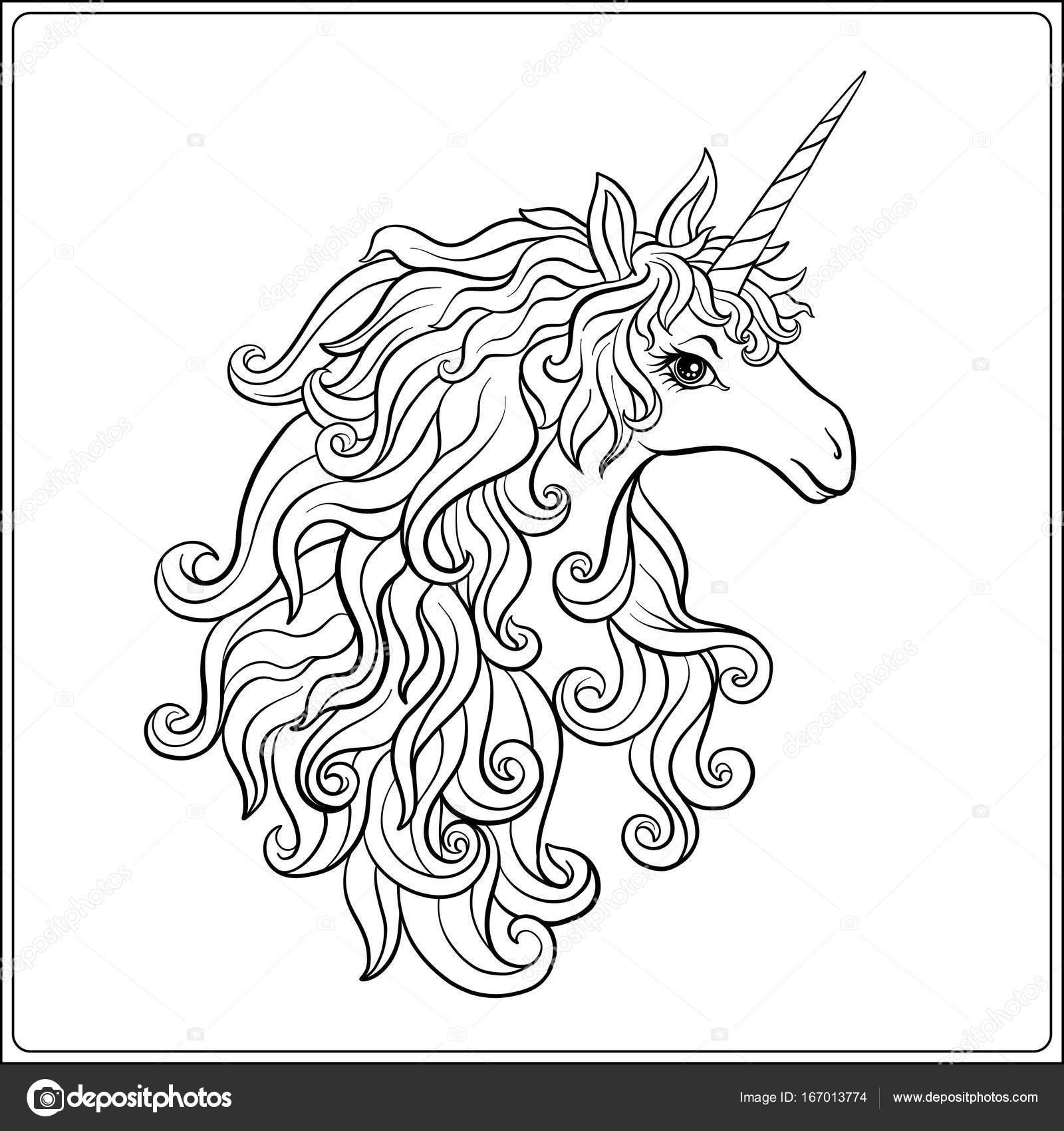 Unicornio. Página para colorear dibujo de contorno. Libro para ...