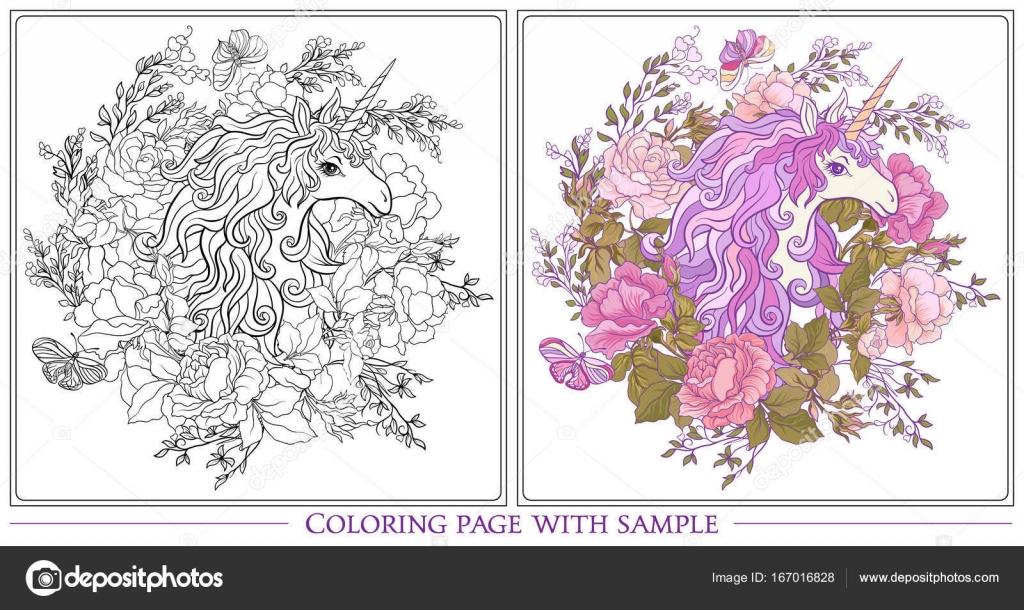 Poster mit dem Einhorn, einen Strauß Rosen und Schmetterlinge auf w ...