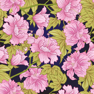 Seamless pattern with pink peony in Japanese style. Vector stock