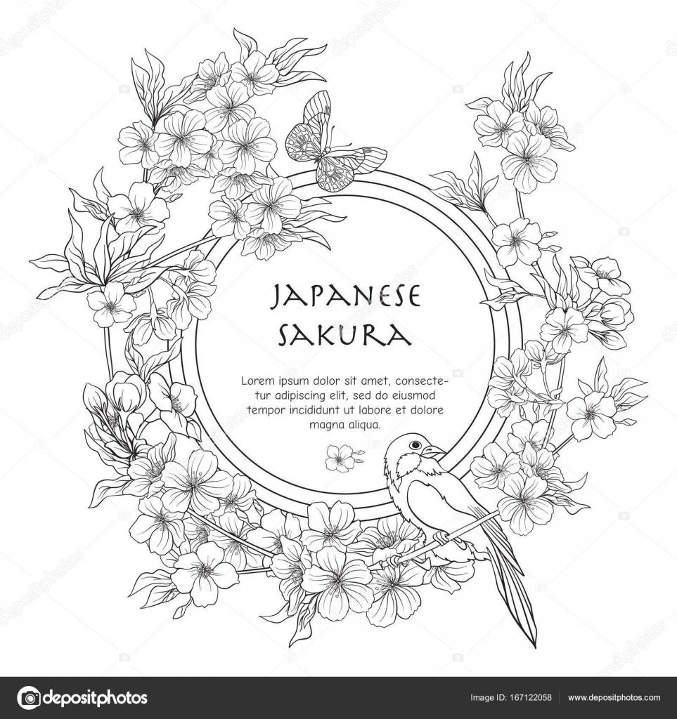 Illustrations Avec Fleurs Japonais Sakura Et Avec La Place Pour Te