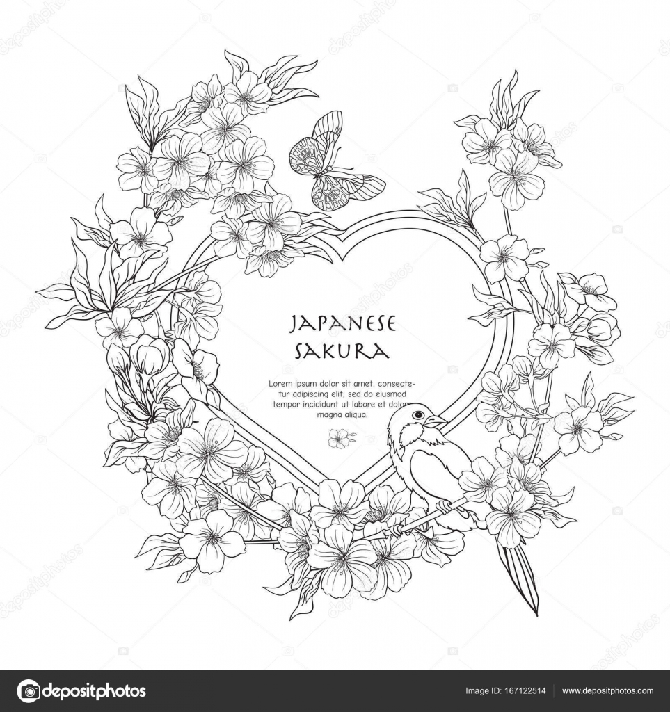 Imágenes: flores japonesas para colorear | Ilustraciones con flor