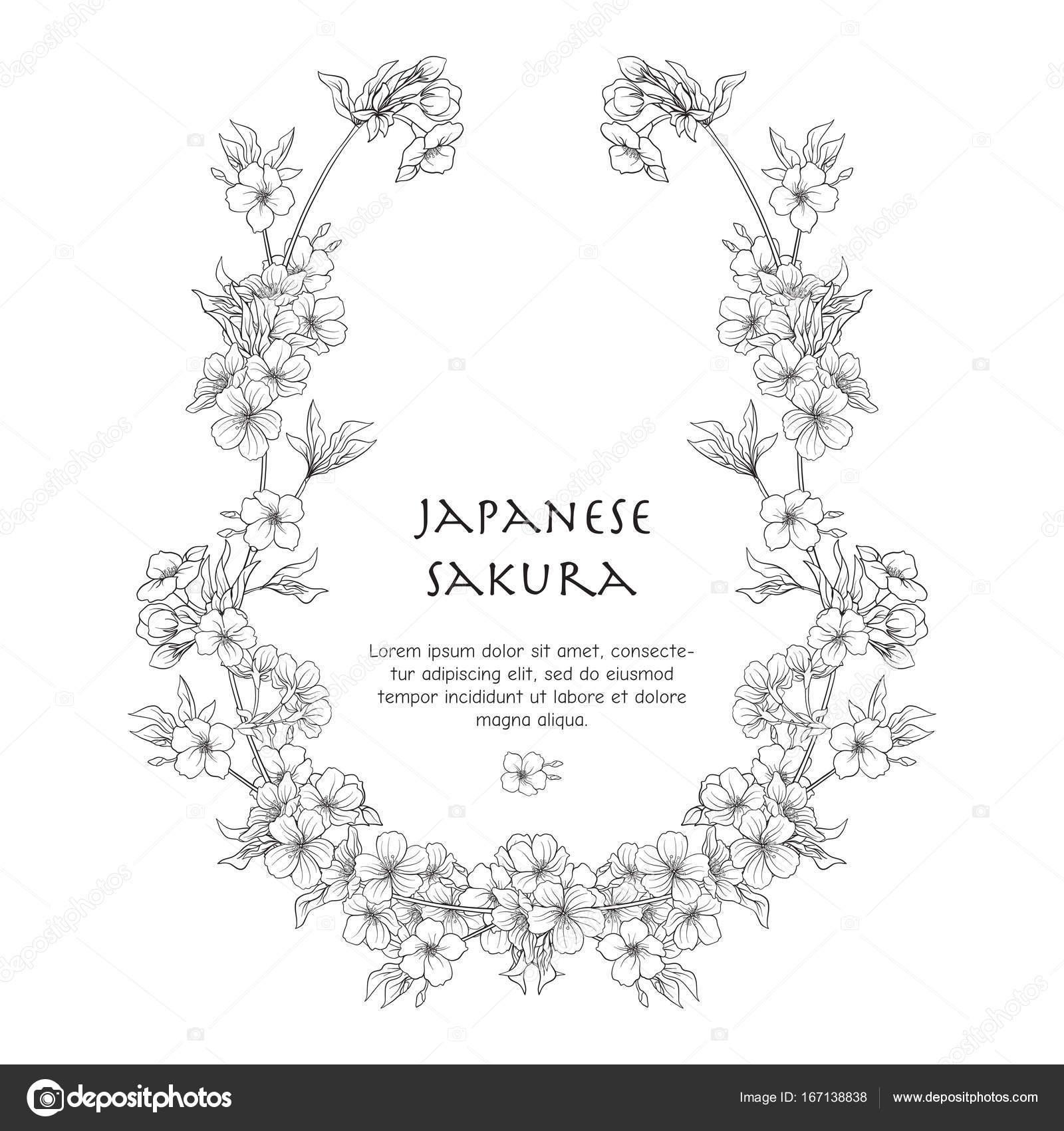 Illustrationen mit Sakura japanische Blüte und mit Platz für te ...