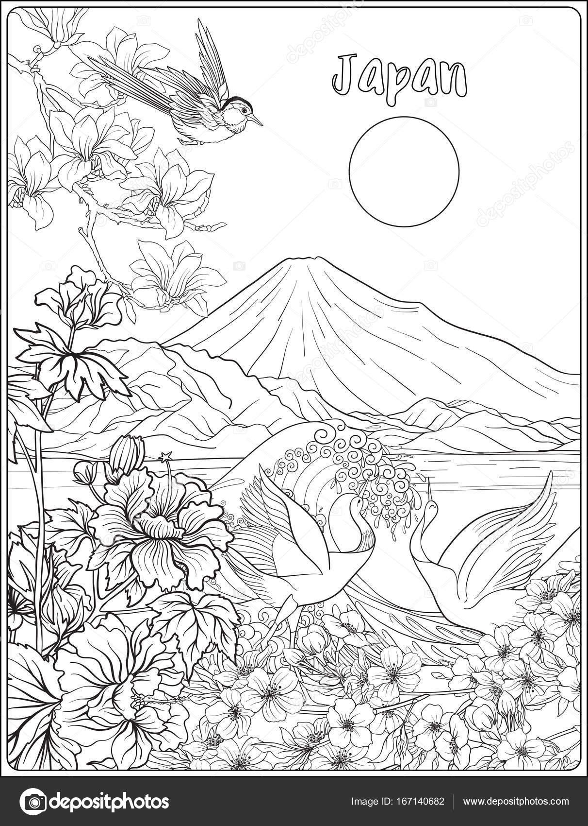 Dibujos: flores japonesas para pintar | Paisaje japonés con kimo de ...