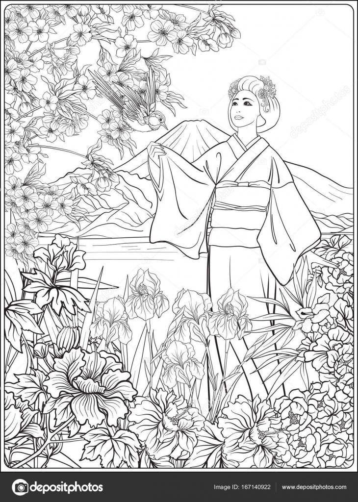 Paisaje japonés con kimo de mujer japonesa, Monte Fuji y mar ...
