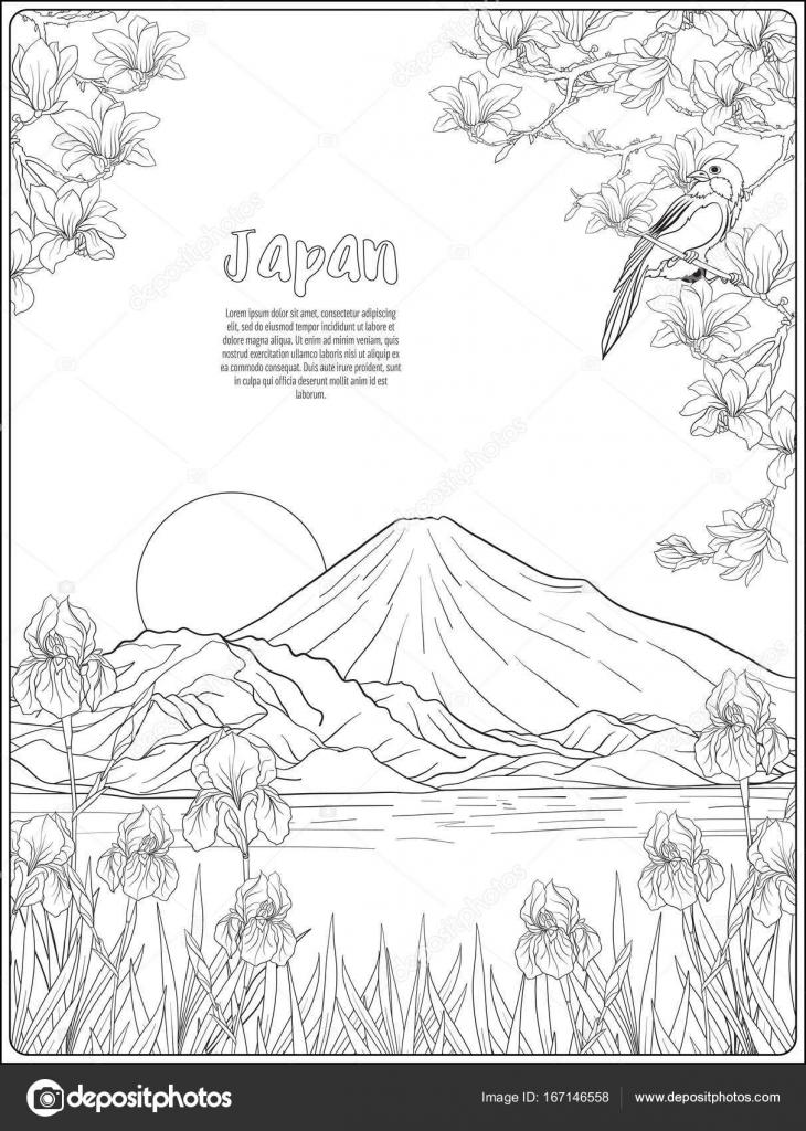 Japanische Landschaft mit Fuji und Tradition Blumen und ein b ...