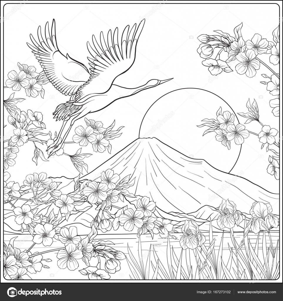 富士山と伝統花 B と日本の風景 ストックベクター Elenabesedina
