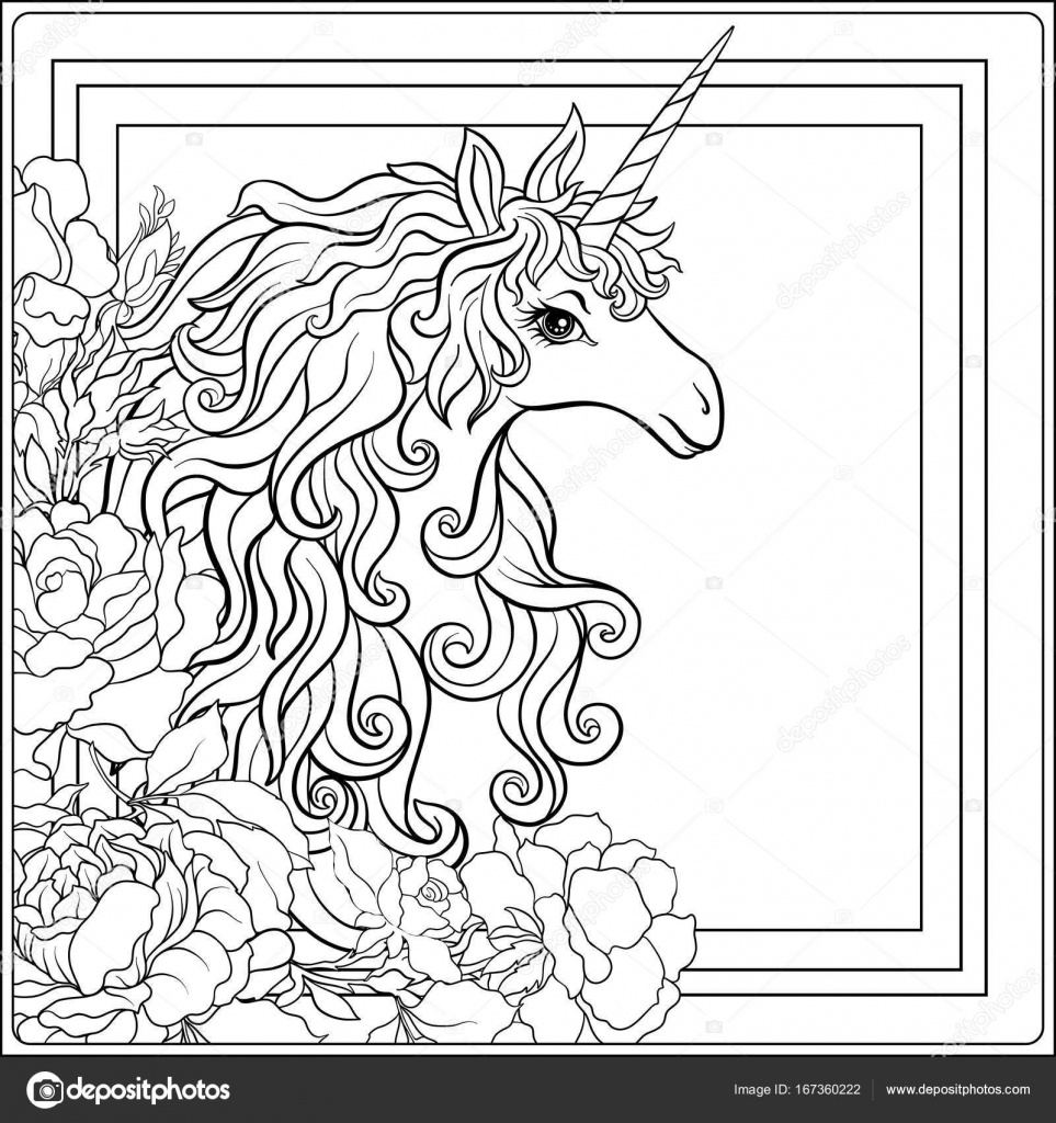 Unicornio. La composición consiste en un unicornio rodeado por un b ...