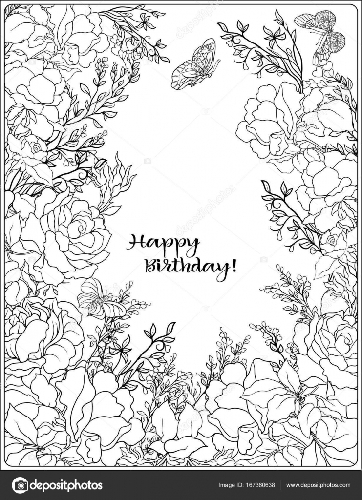 The composition of bouquet of roses and butterflies. Outline han ...