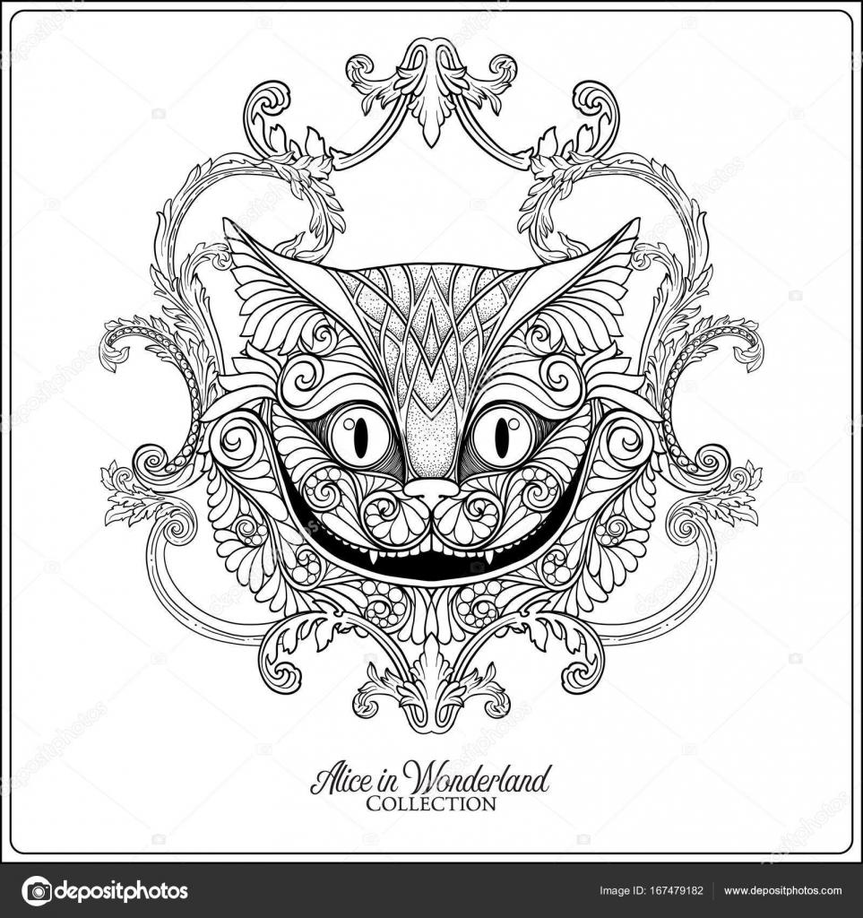 La Tête Du Chat Cheshire Du Conte Alice Au Wonde Image Vectorielle