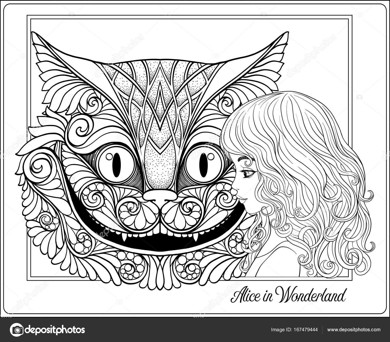 La cabeza del gato de Cheshire y chica de cuento Alicia — Vector de ...