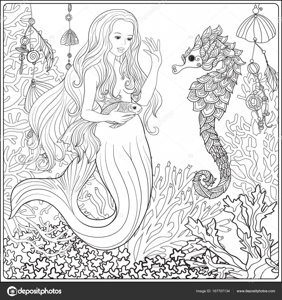 hand drawn mermaid with gold fish in underwater world linen col