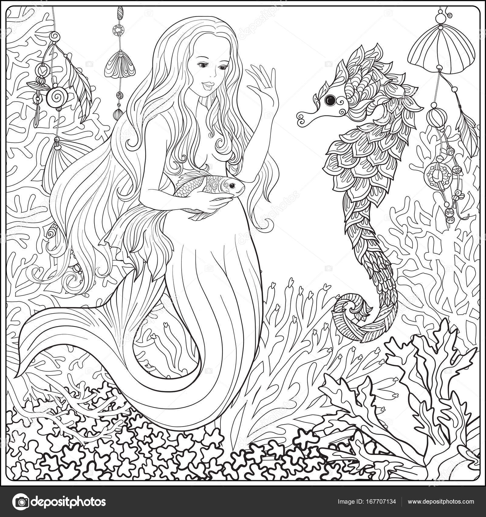 Mano dibujada sirena con peces dorados en el mundo submarino. Col ...