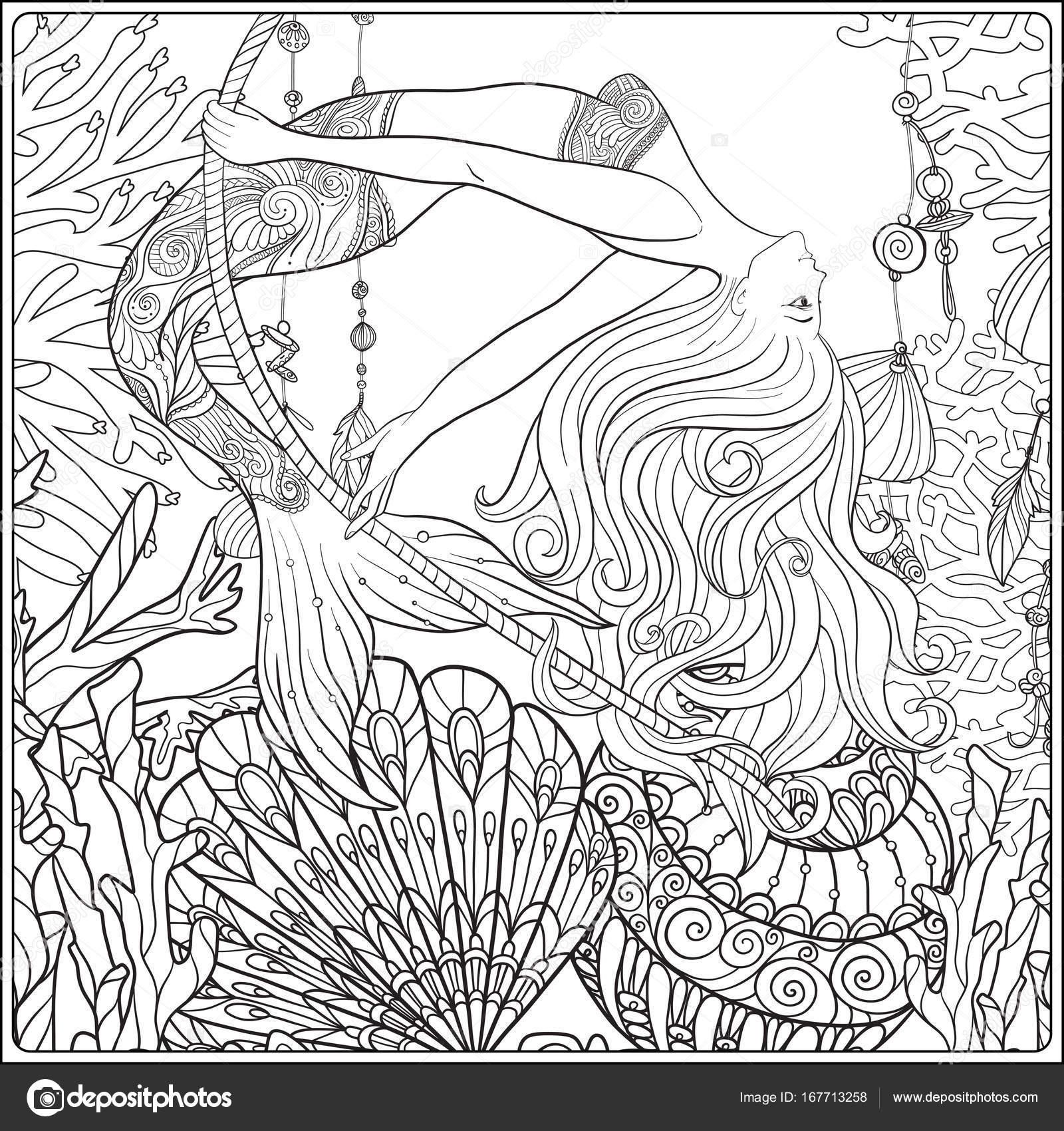 Hand gezeichnet Meerjungfrau schwingen am Seil in die ...