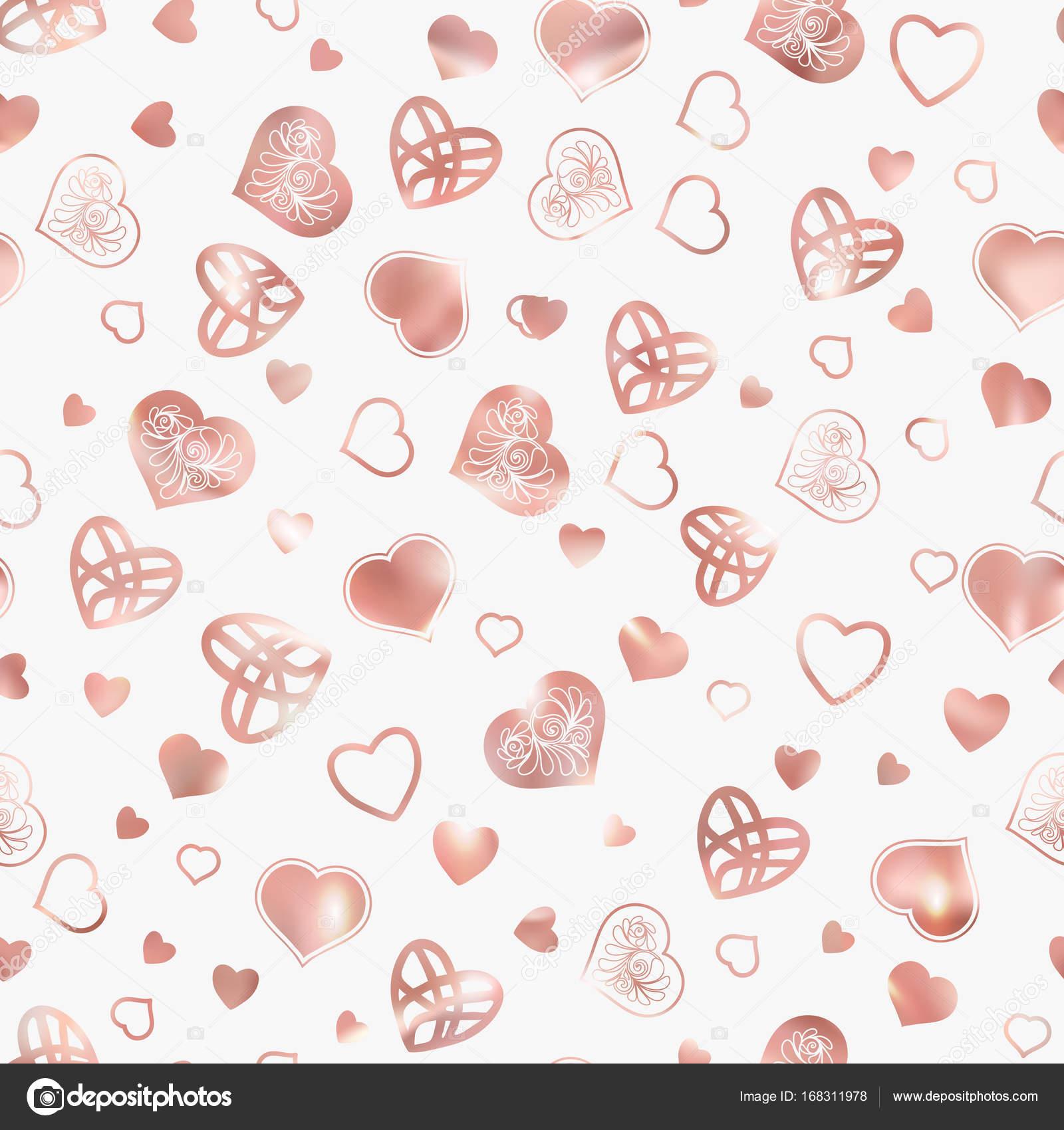 Amor corazón de patrones sin fisuras en colores oro rosa — Vector de ...
