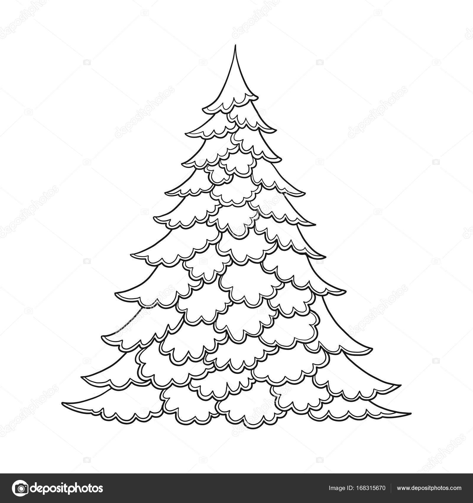 Albero Di Natale. Disegno Di Contorno. Buono Per Colorare