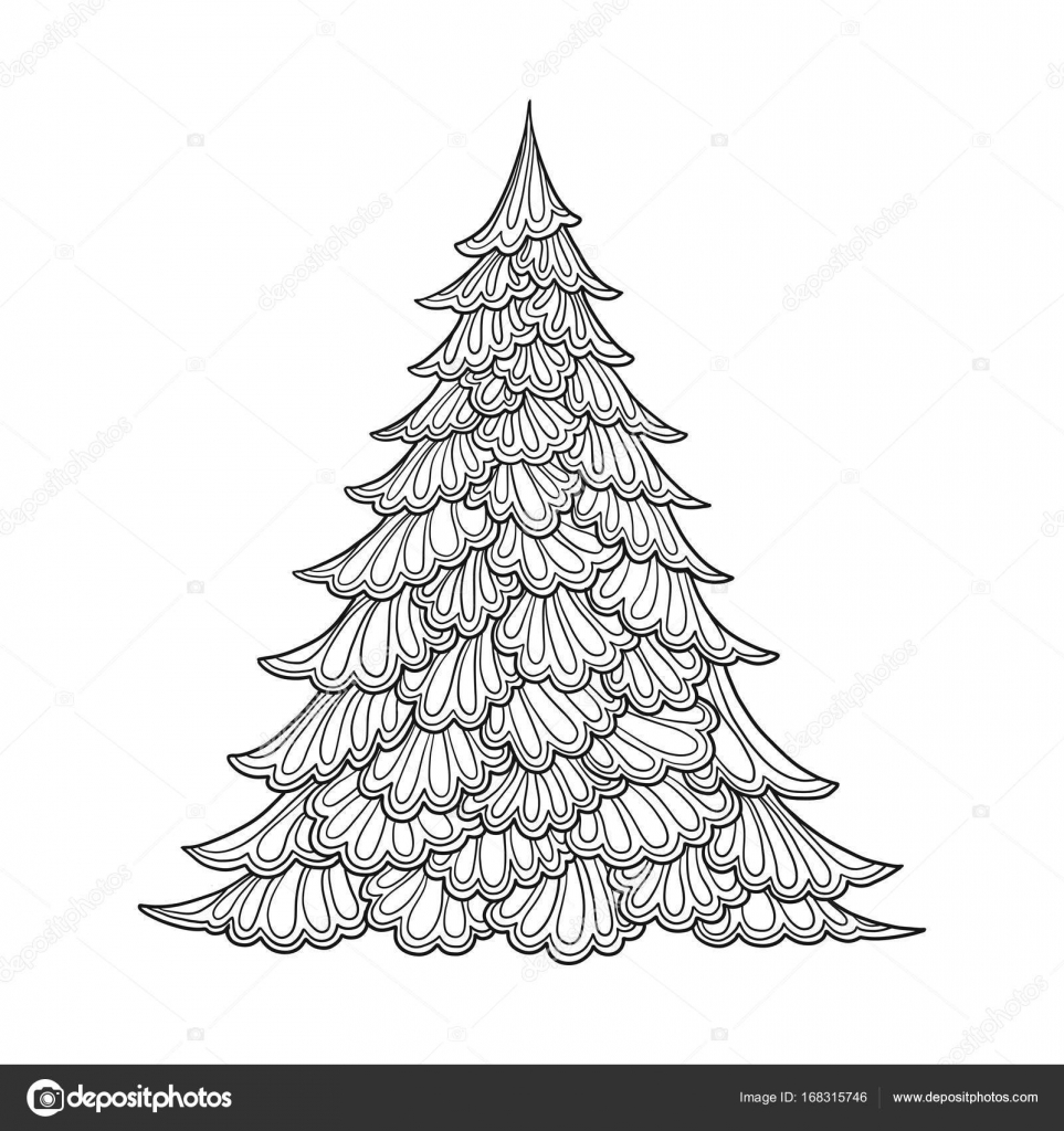 Christmas tree simple - Christmas Adult Coloring Pages | 1024x963