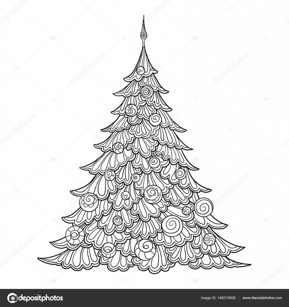 Christmas Tree Contour Drawing Good For Coloring Page The