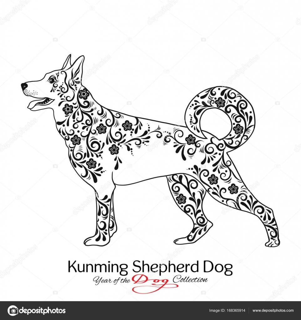 Chien de berger de kunming graphique noir et blanc - Dessin d un chien ...