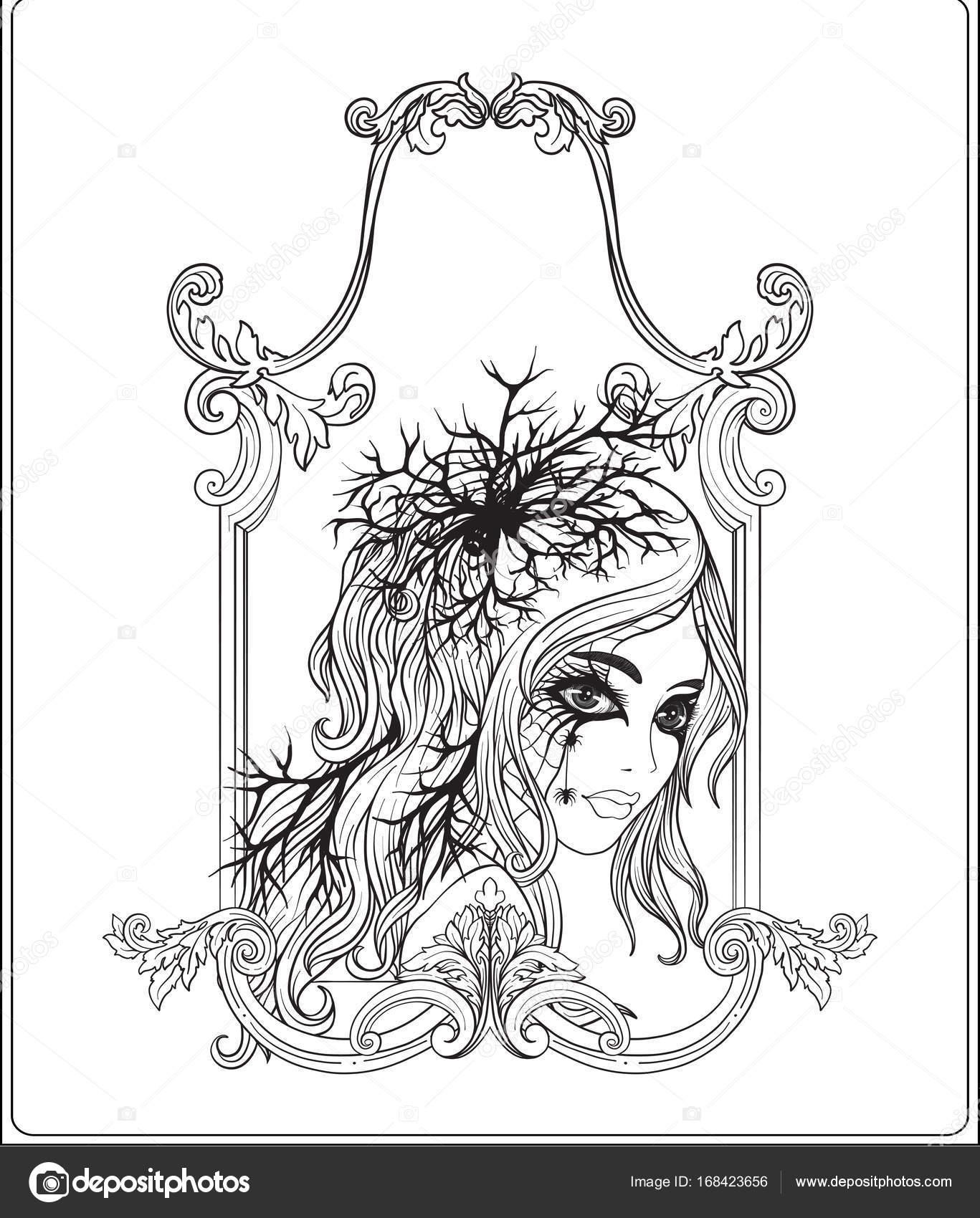 Retrato de una joven hermosa en Halloween o día de la De — Vector de ...
