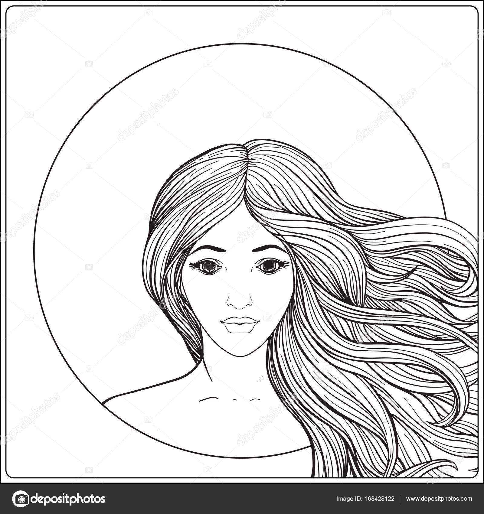 молодая красивая девушка с длинными волосами складе линии