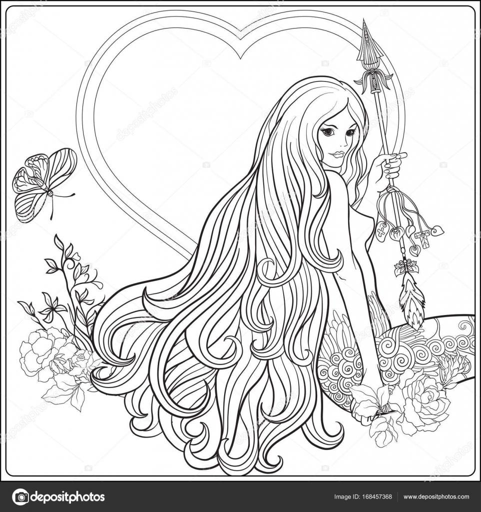 Coloriage Fille Cheveux Longs.Jeune Belle Fille Avec Les Cheveux Longs Avec Fleche Et
