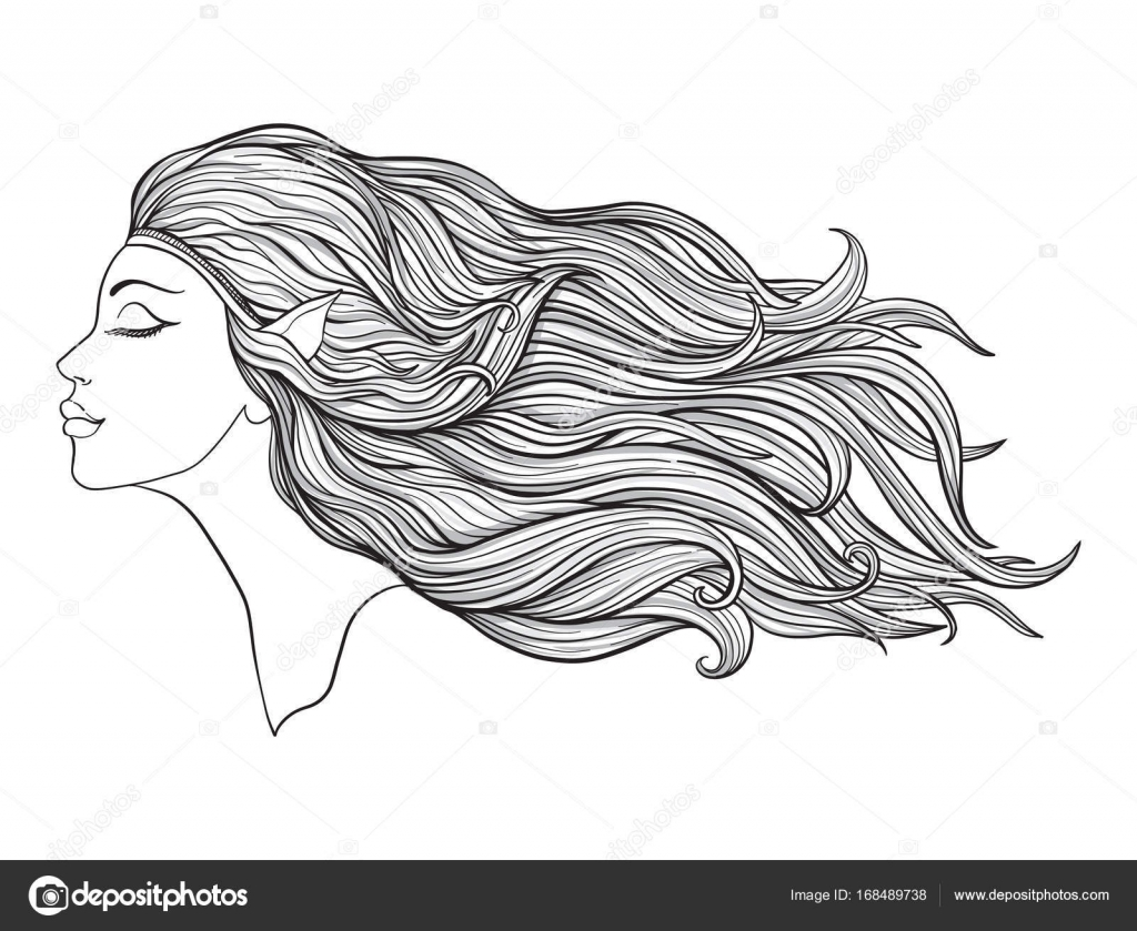 Young beautiful girl With elven ears and long hair. Stock line v ...