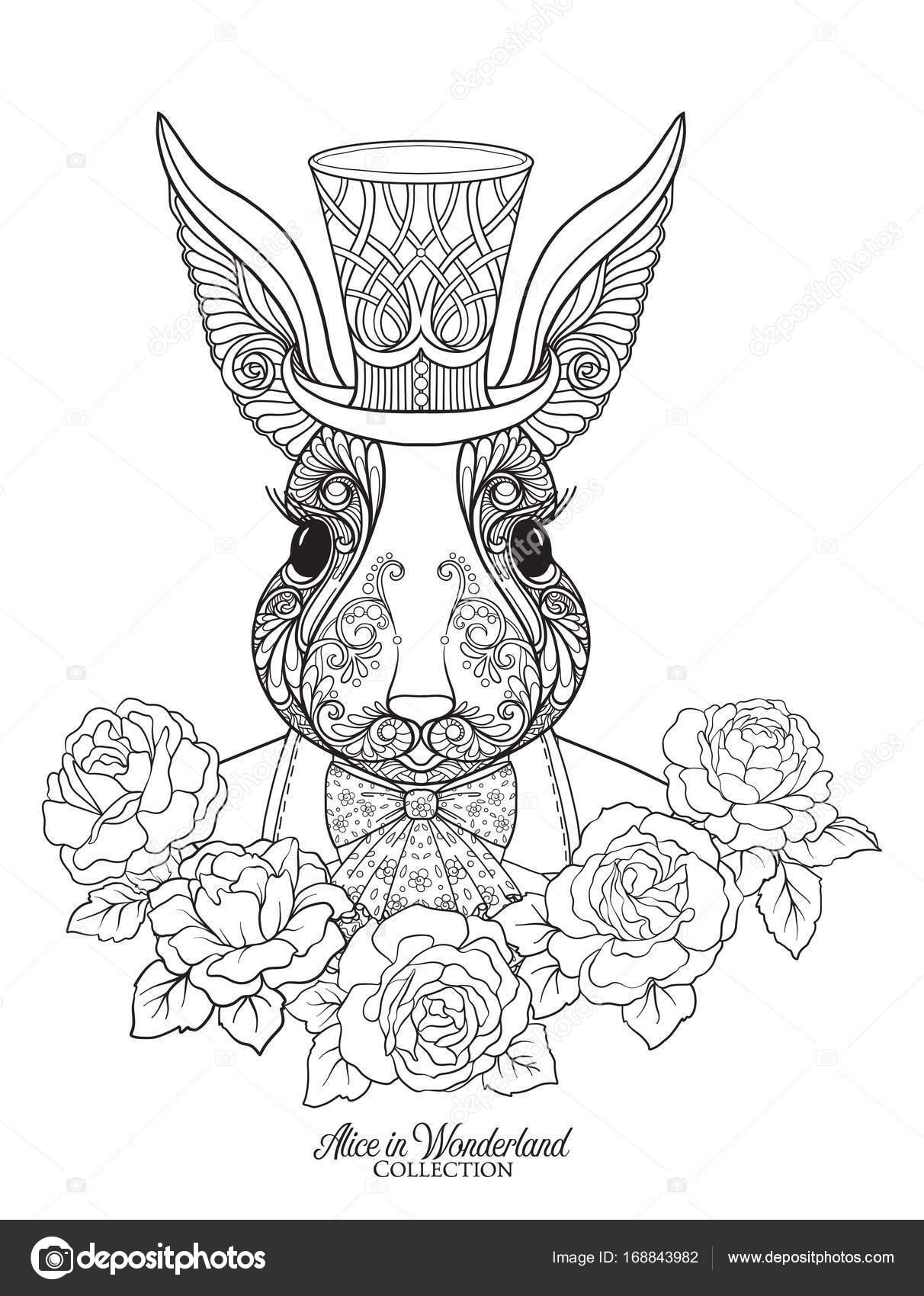 Liebre o conejo en el sombrero del cuento Alicia en el Nar — Vector ...