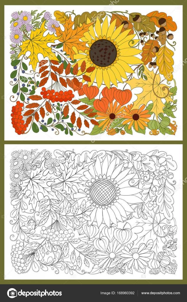 Sonbahar Ile Kompozisyon çiçekler Yapraklar Ve Bitkiler Stok