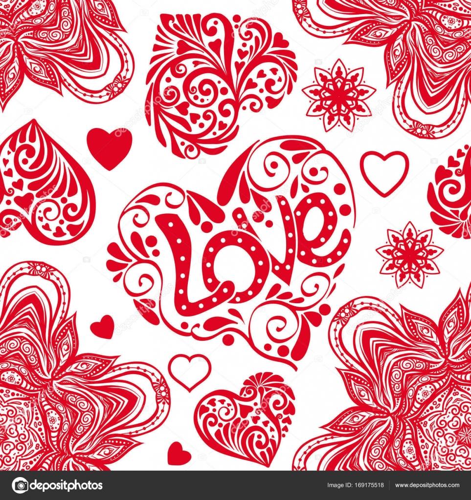 Amour coeur et mandalas mod le sans couture dans les - Mandala amour ...