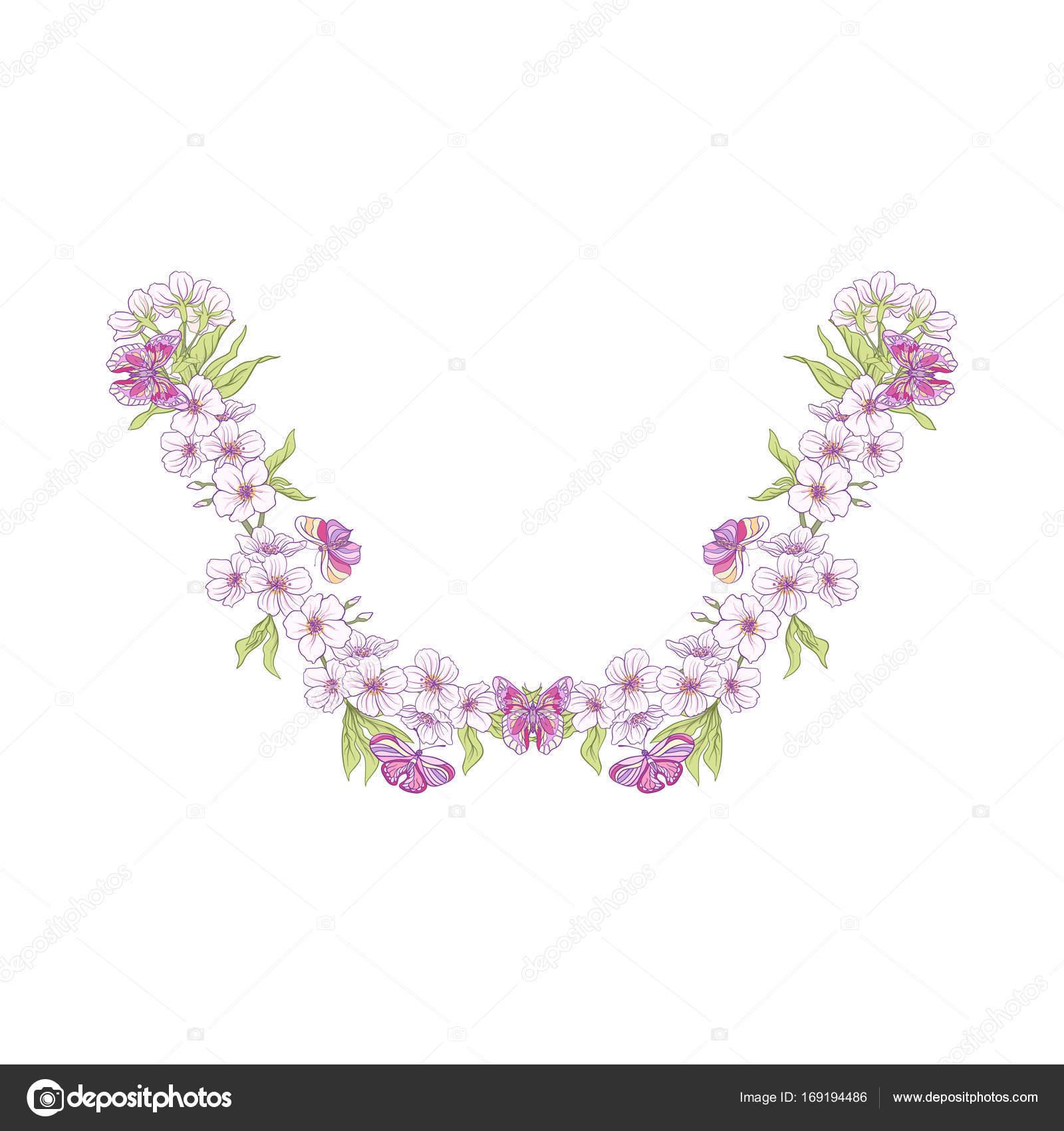 Diseños de bordado de línea de cuello con un patrón de flores y moda ...