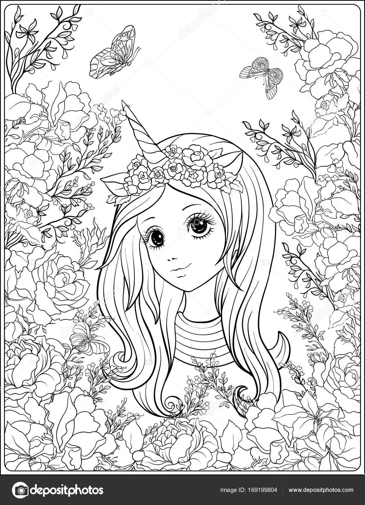 Imágenes Unicornios Animados Kawaii Para Colorear Chica Joven En