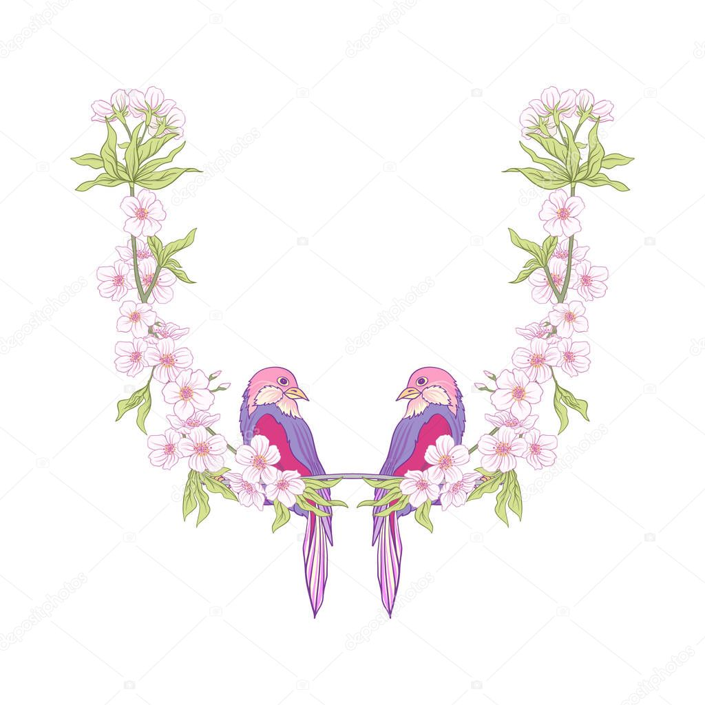 Neck line embroidery designs with a pattern of flowers and branc