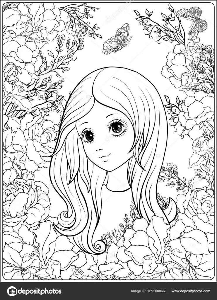 Junge schönes Mädchen mit langem hören im Garten der Rosen ...
