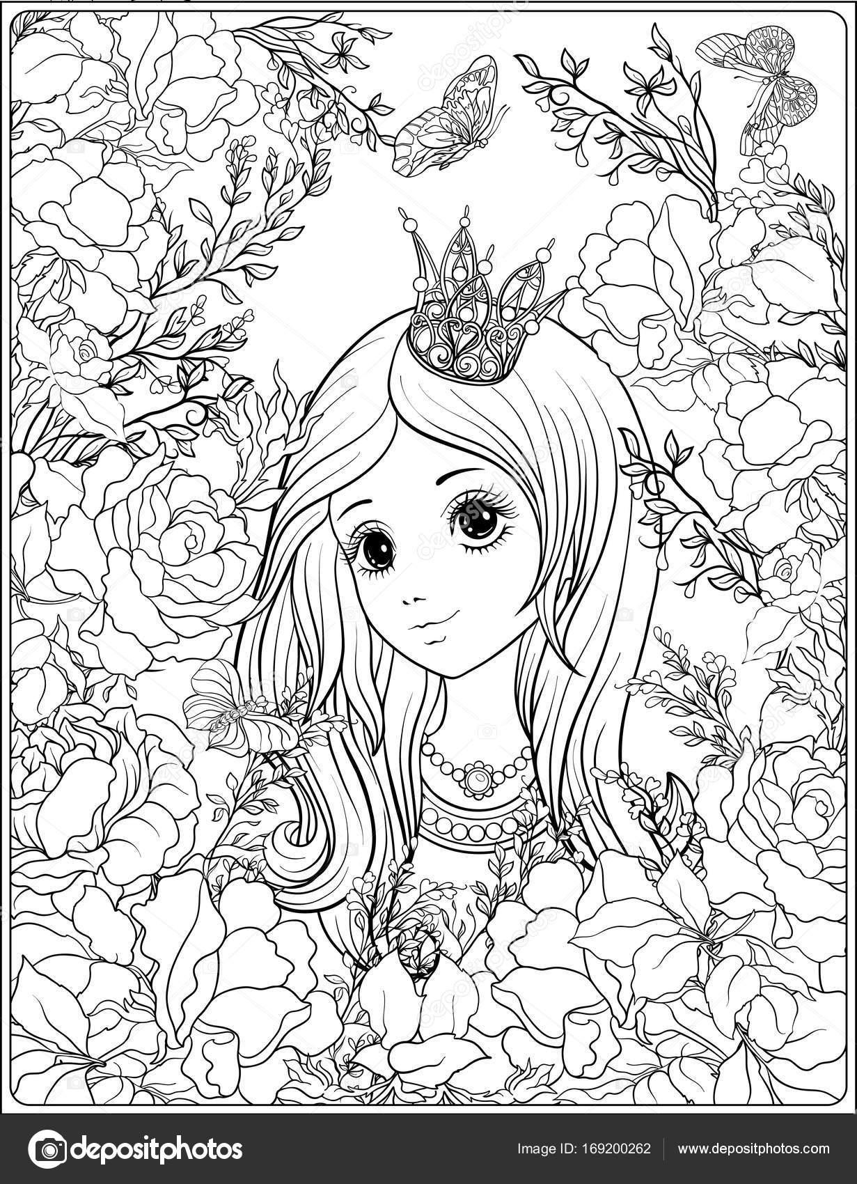 Chica joven en la corona de la princesa en el jardín de rosas ...