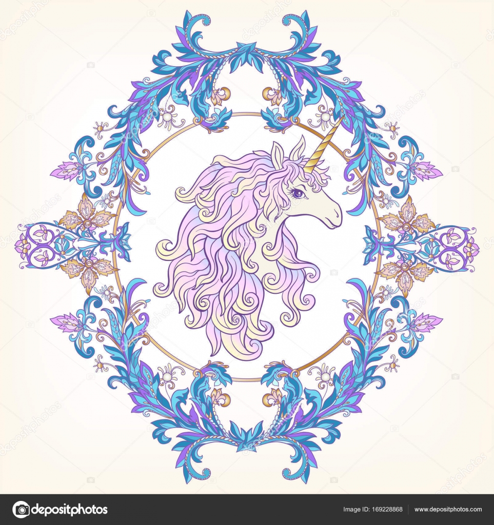 Unicorn in the frame arabesque in the royal medieval style in unicorn in the frame arabesque in the royal medieval style in stock vector stopboris Choice Image