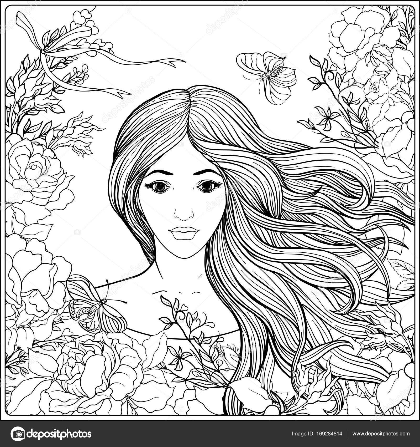 молодая красивая девушка с длинными волосами в богатых
