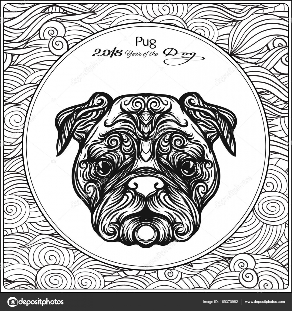Coloring page with dog on background with traditional chinese