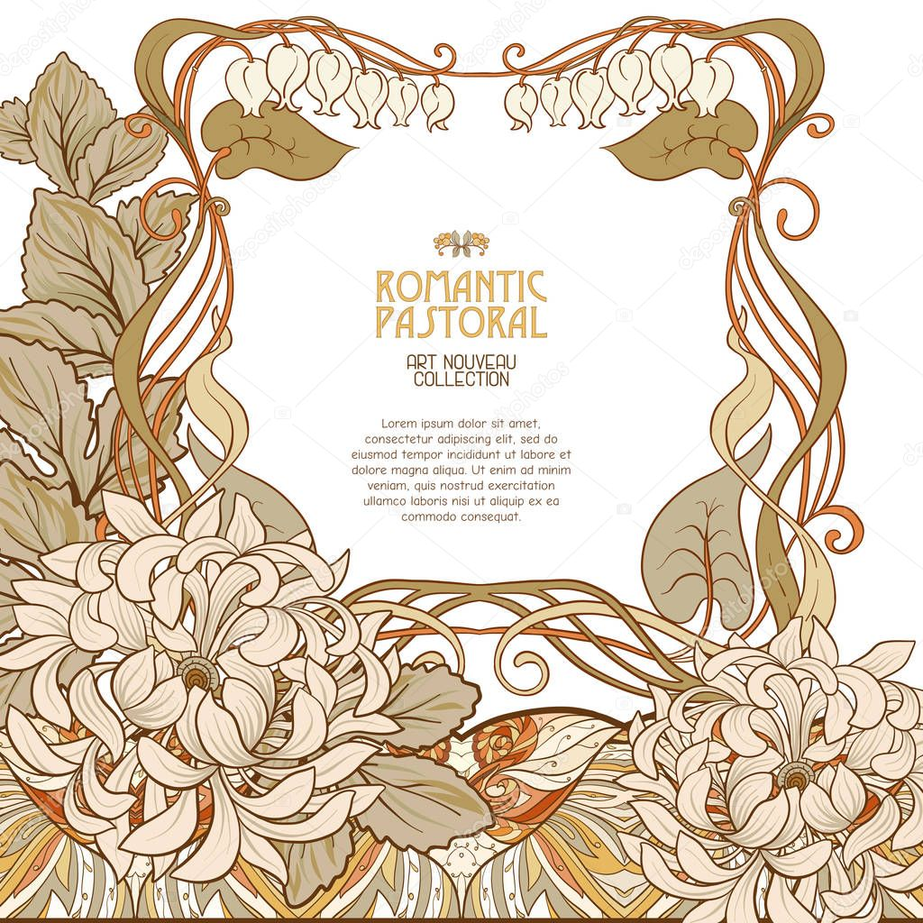 Poster, background with space for text and decorative flowers in art nouveau style