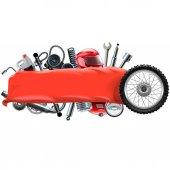 Fotografie Vektor-Banner mit Motorrad-Ersatzteilen