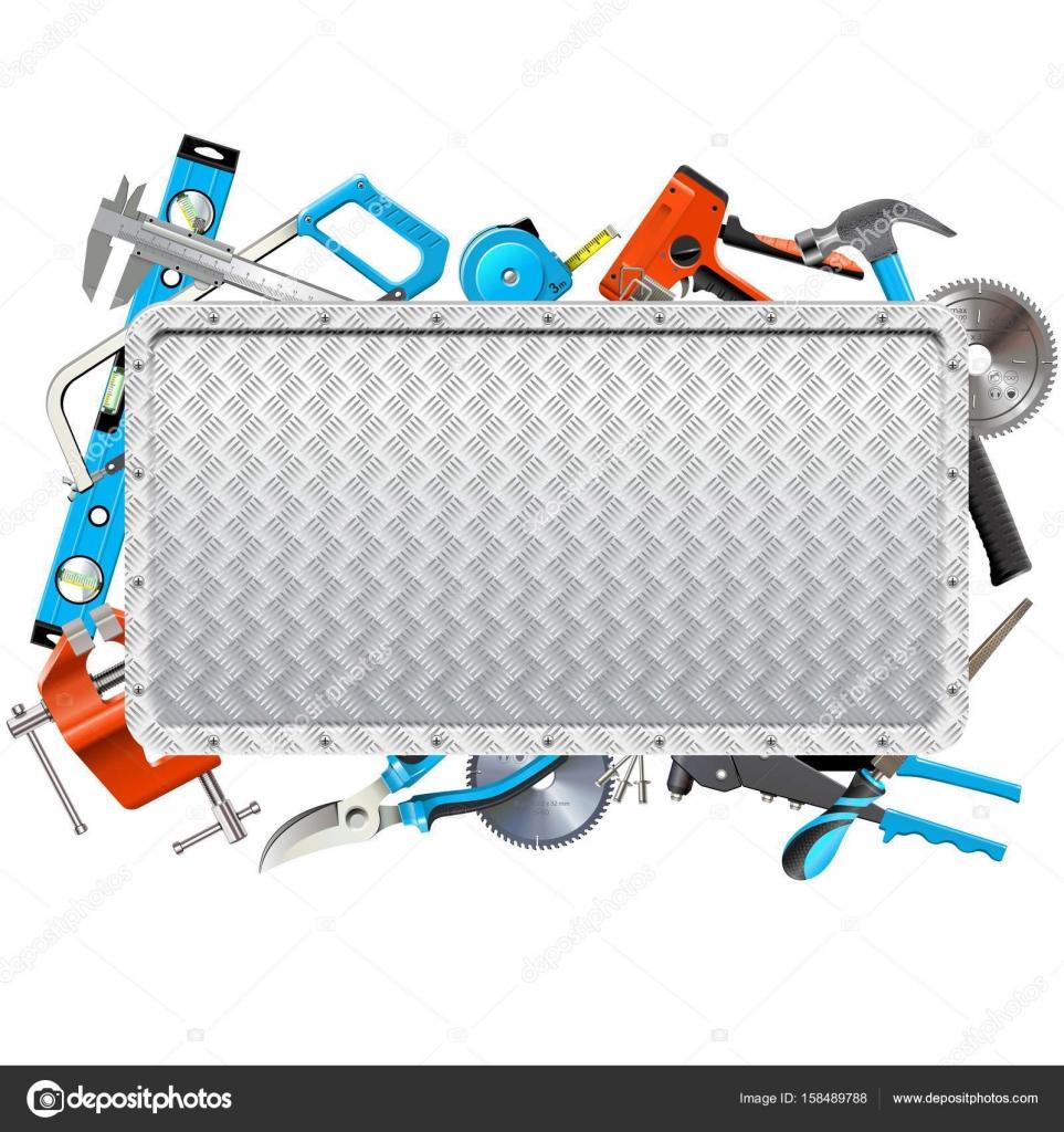 Vector marco de Metal con herramientas de mano — Vector de stock ...