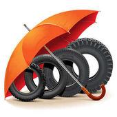 Vektor Autoreifen mit Regenschirm