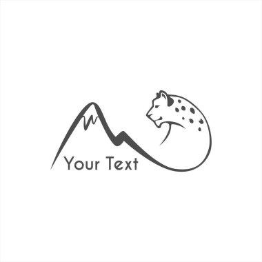 leaping snow leopard logo sign emblem vector illustration