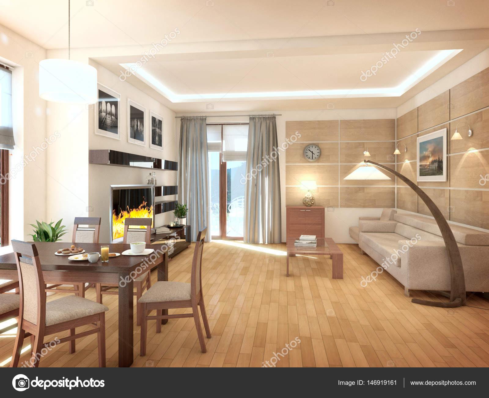 Modernes Design Innenraum Wohnzimmer. 3d Render U2014 Stockfoto