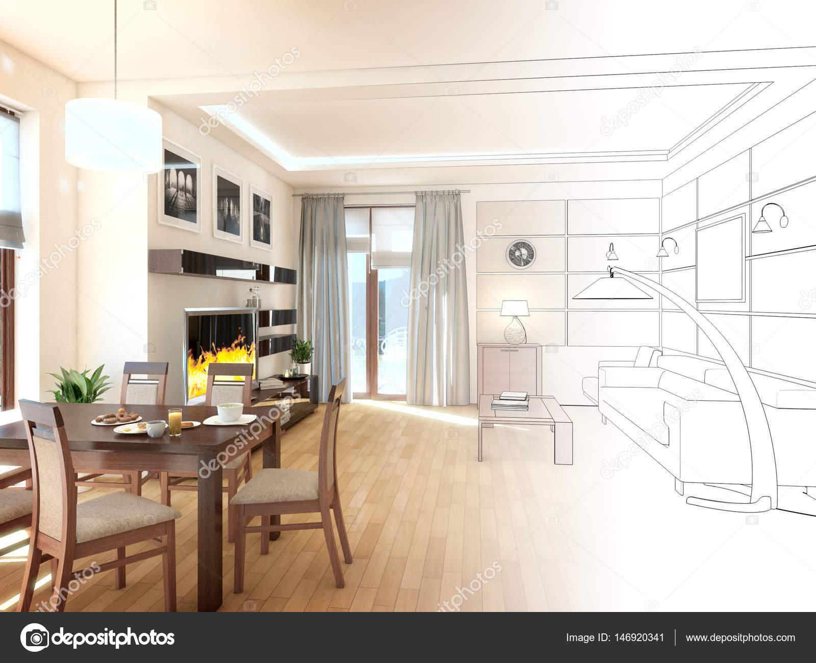 Moderne design interieur van woonkamer. 3d render u2014 stockfoto