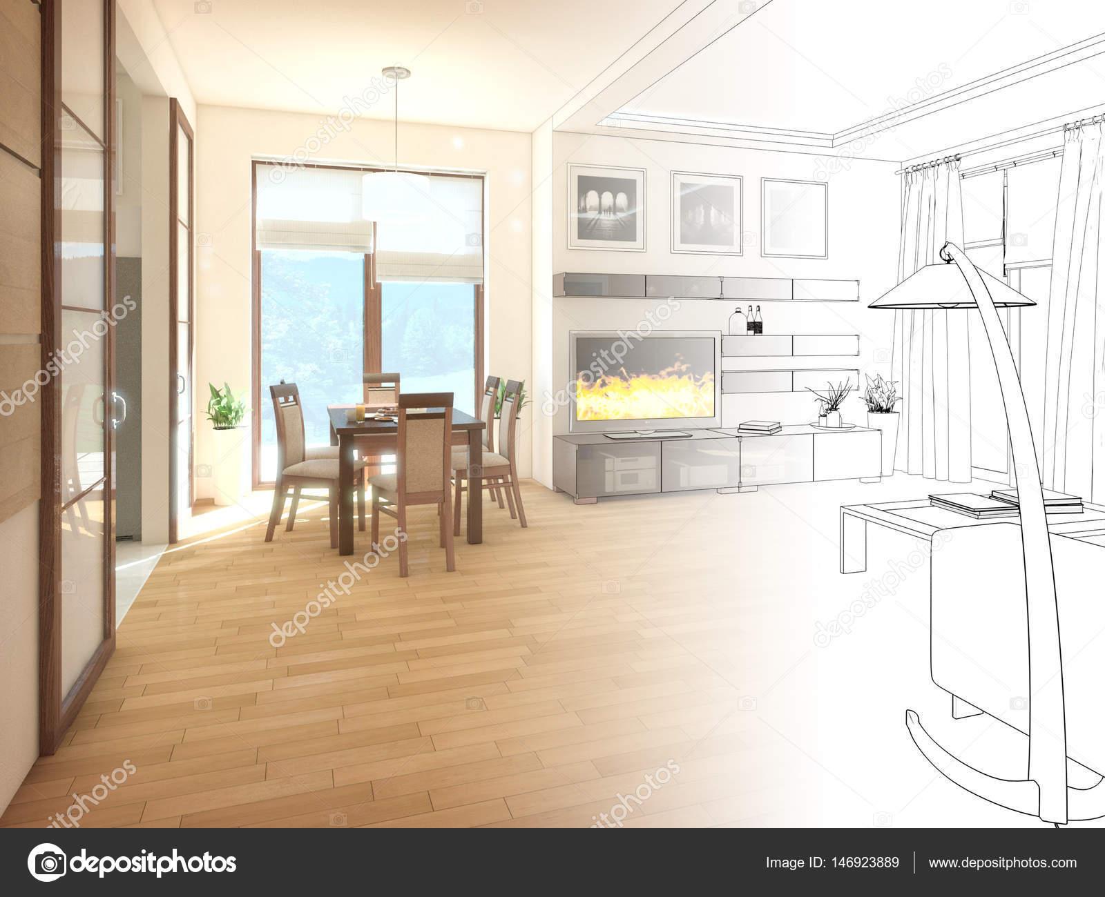 modernes design innenraum wohnzimmer. 3d render — Stockfoto ...