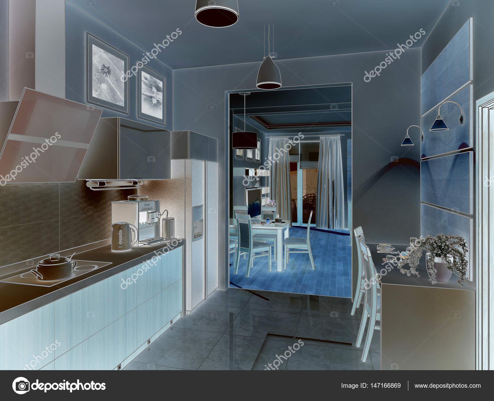 Kitchen interior. 3d illustration, render. — Stock Photo © Wassiliy ...