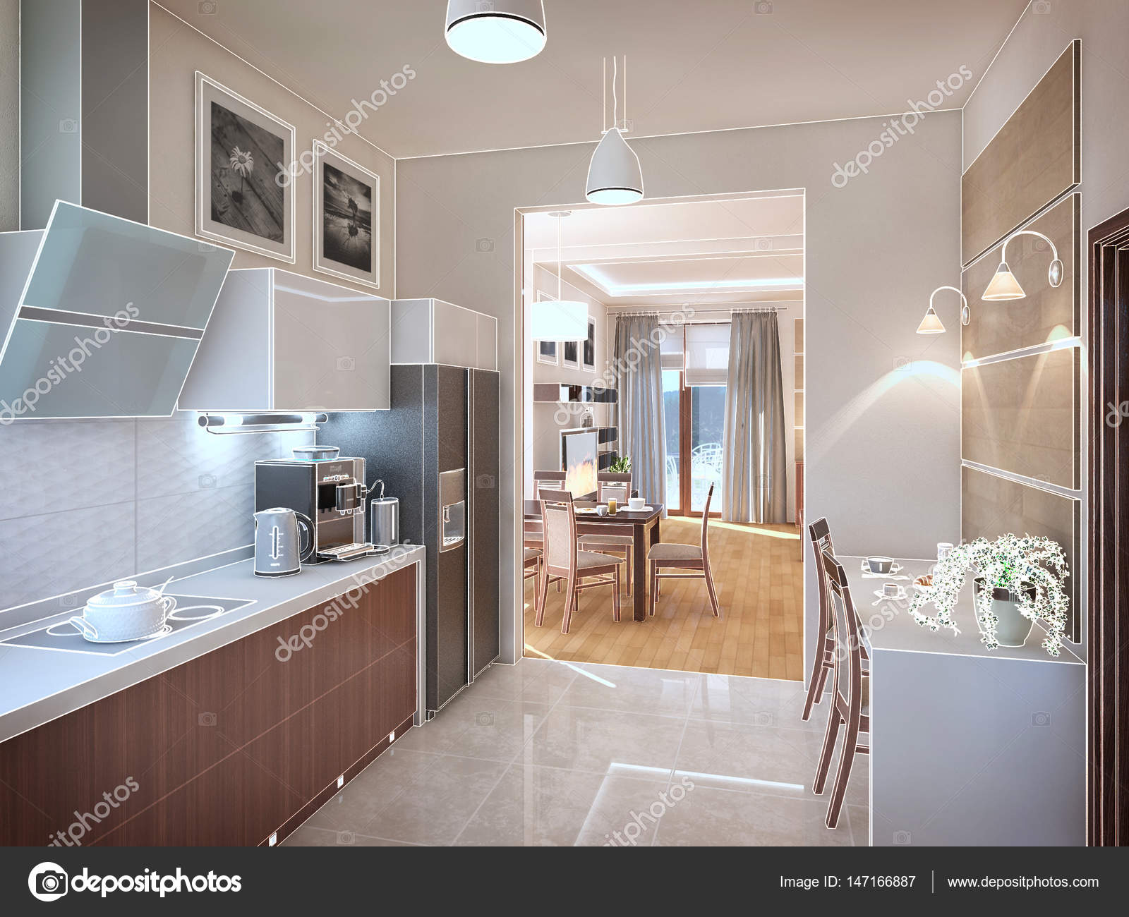 Küche Interieur. 3D-Illustration, Rendern — Stockfoto © Wassiliy ...