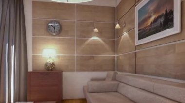 D rendering moderne woonkamer in een loft u stockvideo