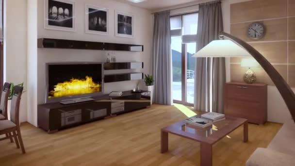 3D vykreslování. moderní obývací pokoj v podkroví