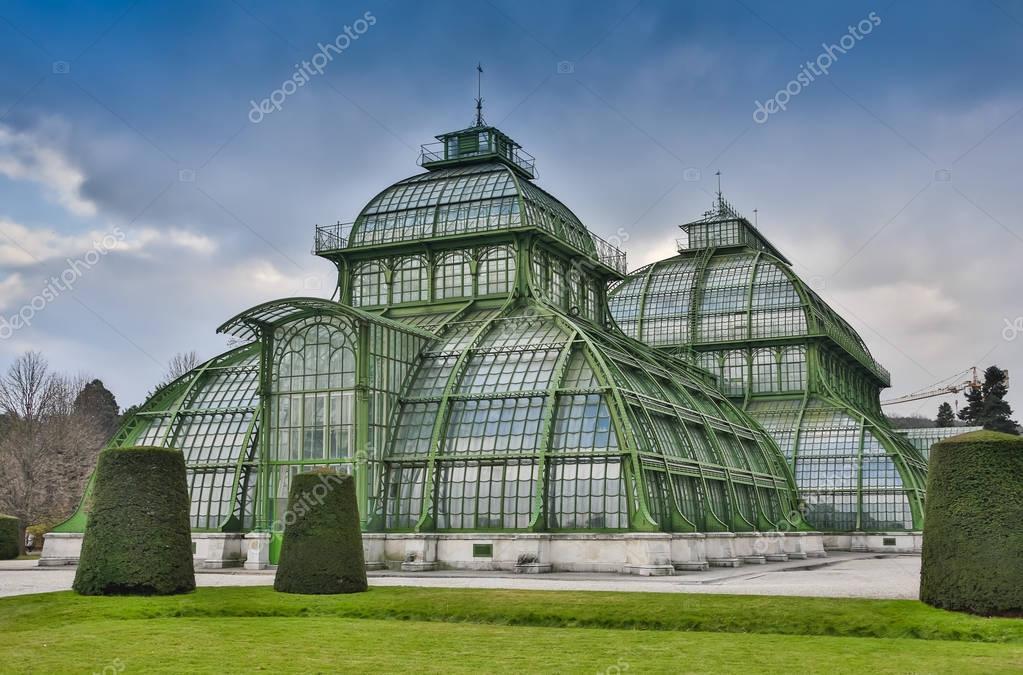 Palm House building Palmenhaus, an art nouveau structure at the imperial garden of Schonbrunn in Vienna, Austria.